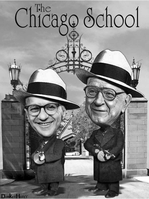 Milton Friedman and Arnold Harberger welcome the boys to class at the Chicago school of Economics. https://www.flickr.com/photos/donkeyhotey/4396155916/ https://creativecommons.org/licenses/by-sa/2.0/